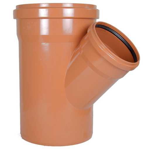 Kloakgrenrør PVC 400 x 250 mm x 45° PVC kloakgrenrør pvc kloakfittings kloak tee kloak plast