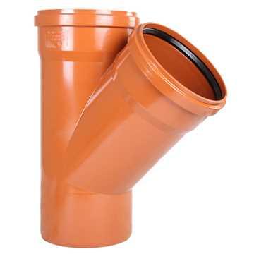 Kloakgrenrør PVC 200 x 200 mm x 45° PVC kloakgrenrør pvc kloak tee kloakfittings