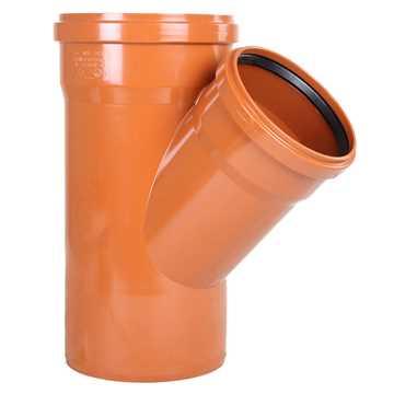 Kloakgrenrør PVC 200 x 160 mm x 45° PVC kloakgrenrør pvc kloak tee kloakfittings