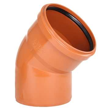 Kloakbøjning PVC 200 mm x 45°PVC kloakbøjning pvc kloakfittings kloakplast kloakvinkel kloak vinkel