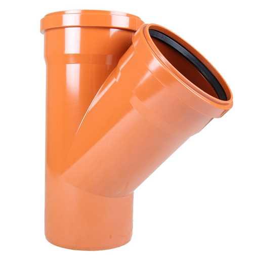 Kloakgrenrør PVC 160 x 160 mm x 45° PVC kloakgrenrør pvc kloak tee kloakfittings