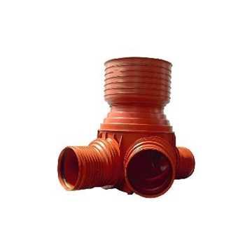 Uponor rense og inspektionsbrønd for 425 mm opføringsrør i 110 mm tiløb til - type 3 i PP. Til glat,
