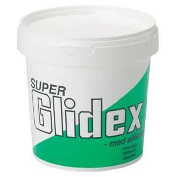 Super glidex er et silikoneholdigt glidemiddel, der anvendes ved montage af plastmufferør