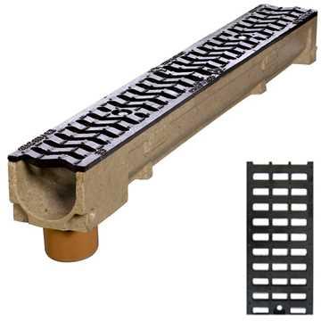 Afløbsrende m/ 110 mm lodret udløb og gitterrist i støbejern til 12,5t belastning.B100 x H100 x L10