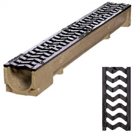 Afløbsrende m/ S-rist i støbejern til 12,5t belastning. B100 x H60 x L1000 mm.