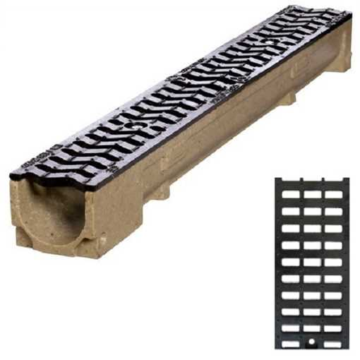 Afløbsrende m/ gitterrist i støbejern til 12,5t belastning. B100 x H100 x L1000 mm.