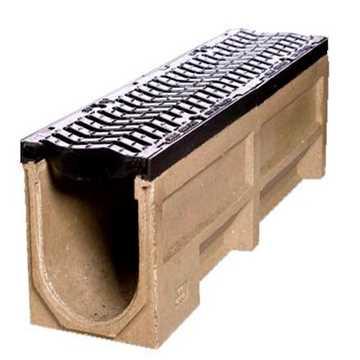 B160 x H185 x L1000 mm Afløbsrende m/ 110 mm lodret udløb og S-rist i støbejern til 40t belastning