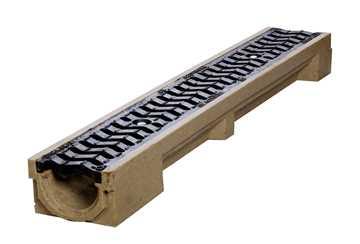 B100 x H100 x L1000 mm Afløbsrende m/ S-rist i støbejern til 25t belastning