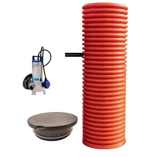 Pumpebrønd Ø600 mm til gråt spildevand. Inkl. Flygt 35-5/B pumpe med niveauvippe og plastkarm med Ø6