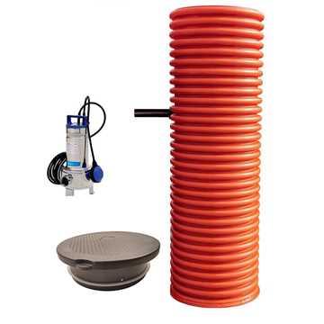 Pumpebrønd Ø600 mm til gråt spildevand.Inkl. Flygt 35-5/B pumpe med niveauvippe og plastkarm med Ø6