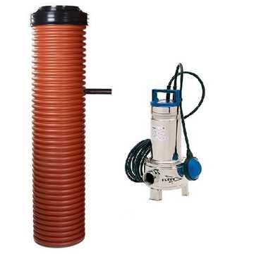 Pumpebrønd til gråt spildevand Ø455/400 mm med Ø315 mm manchet.Inkl. Flygt 35-5/B pumpe med niveauv