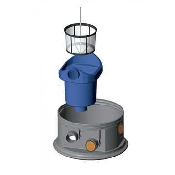 Filterhus med integreret kurvefilter. Nem montage uden brug af værktøj. Vandudbytte 100% (bestående