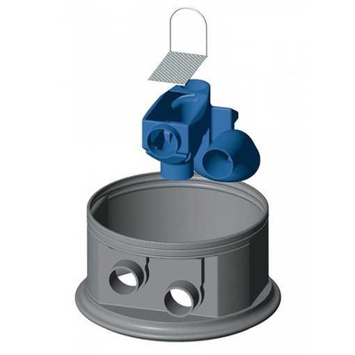 Filterhus med integreret stålfilter og vandlås. Nem montage uden brug af værktøj. Vandudbytte 95%