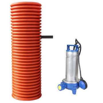 Pumpebrønd til sort spildevand incl. Flygt DXGM 25-11 pumpe med niveauvippe og rørføring i 50 mm try