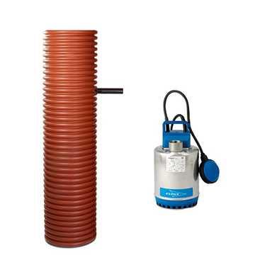 Pumpebrønd til dræn/regnvand incl. Flygt SXM 3/A pumpe med niveauvippe, Ø315 mm manchet og rørføring