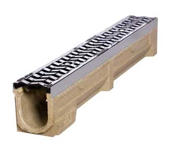 B150 x H195 x L1000 mm Afløbsrende m/ S-rist i støbejern til 25t belastning