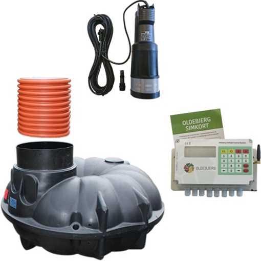 Komplet anlæg til genanvendelse af regnvand i husholdningen. Anlægget indeholder forstærket samletan