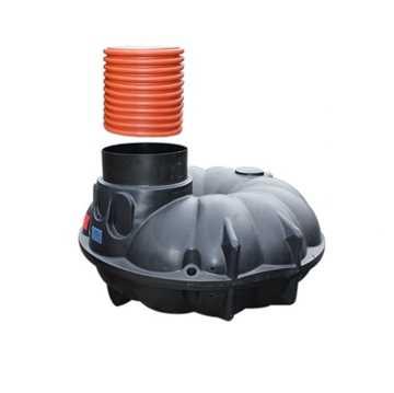 Anlæg til genanvendelse af regnvand. Anlægget indeholder forstærket samletank på 5000l, filter, opfø