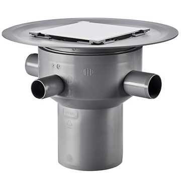 Afløbsskål til betongulve med klinkebelægning, 3 sideindløb.Til smøremembran med højde justerbar fl