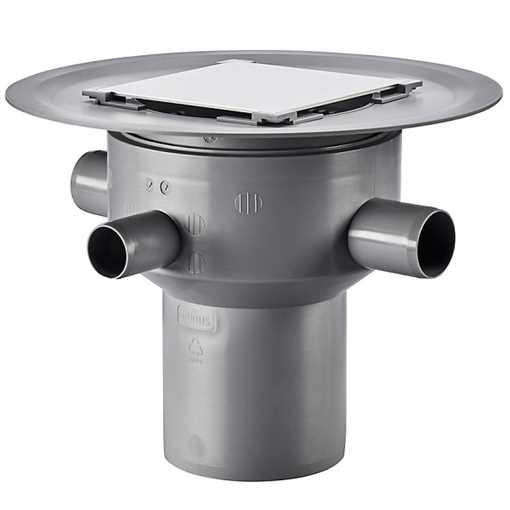 Afløbsskål til betongulve med klinkebelægning, 3 sideindløb. Til smøremembran med højde justerbar fl