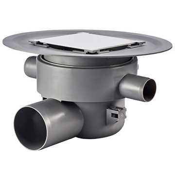 Afløbsskål inkl. vandlås til betongulve med klinkebelægning, 3 sideindløb.Til smøremembran med højd