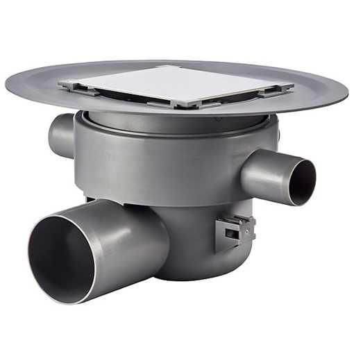 Afløbsskål inkl. vandlås til betongulve med klinkebelægning, 3 sideindløb. Til smøremembran med højd