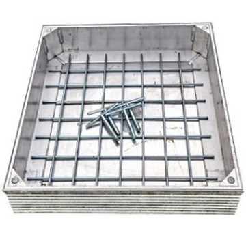 Lugttæt brønddæksel i aluminium med udv. mål 600 x 600 mm. Til inden-/udendørs anvendelse med max be