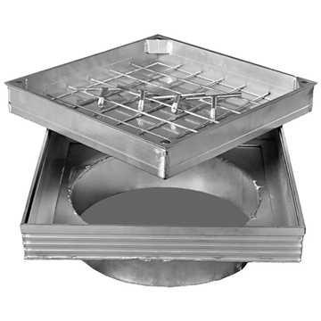 Brønddæksel i aluminium med udv. mål 600 x 600 mm - skørt ø425 Til udendørs anvendelse med max belæg
