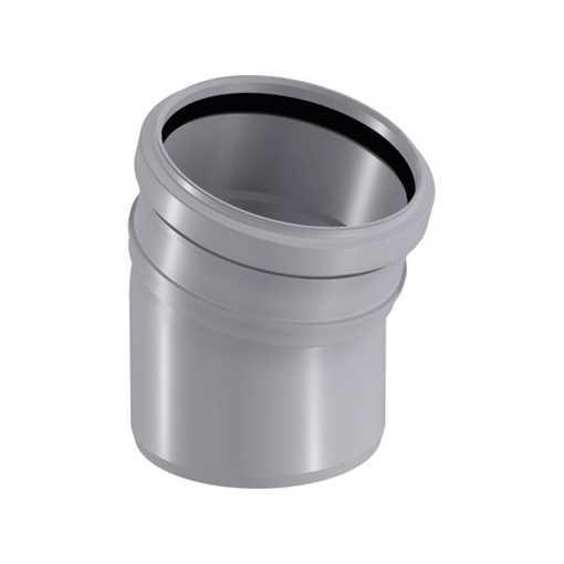 HTP afløbsbøjning 110 mm x 15° grå kloakrør, plastafløb, plastrør, afløbsrør til køkkenvask