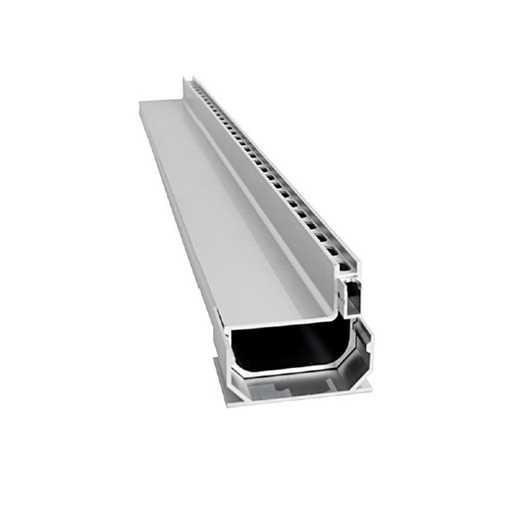 Afløbsrende i aluminium designet som en enhed med 10 x 25 mm drænhuller langs siden. Til max 40 mm b