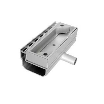 Afløbsrende i aluminium med inspektionsdel.Horisontalt udløb ø30. Til max 40 mm belægningshøjde.