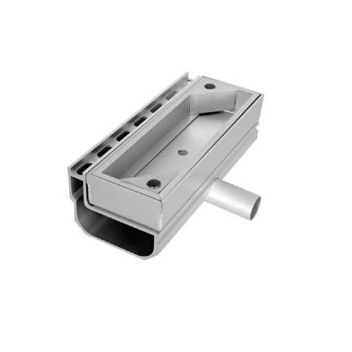 Afløbsrende i aluminium med inspektionsdel. Horisontalt udløb ø30.  Til max 40 mm belægningshøjde.