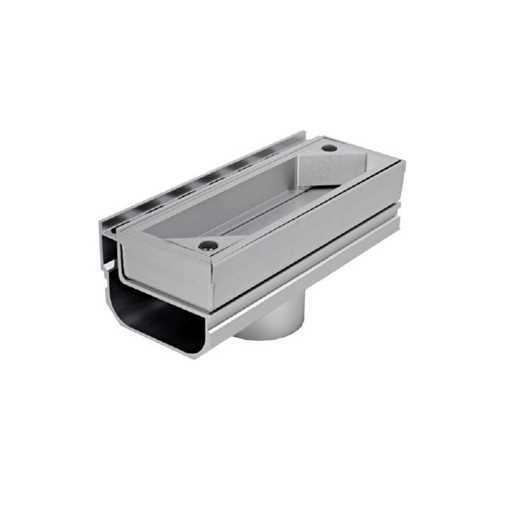 Afløbsrende i aluminium med inspektionsdel. Vertikalt udløb ø75.  Til max 40 mm belægningshøjde.