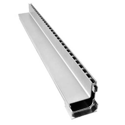 Afløbsrende i aluminium designet som en enhed med 10 x 25 mm drænhuller langs siden. Til max 75 mm b