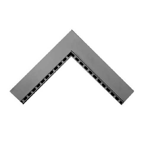 Oldebjerg Alu 75 indv. hjørne rende L=500x500mm