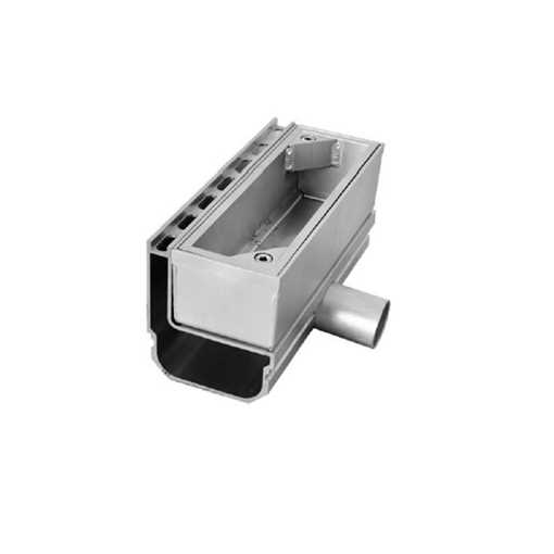 Afløbsrende i aluminium med inspektionsdel. Horisontalt udløb ø50.  Til max 75 mm belægningshøjde.