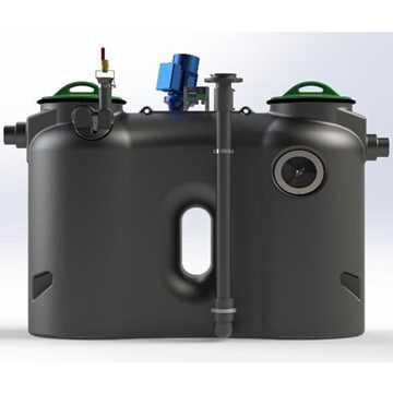 Fritstående fedtudskiller model Mix-M. Mål: B700 x L1940 x H1189 mm, vægt 119kg, gennemstrømning 2 l
