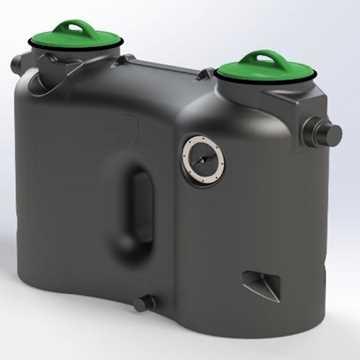 Fritstående fedtudskiller model Prima. Mål: B700 x L1940 x H1189 mm, vægt 78kg, gennemstrømning 2 l/