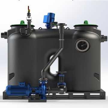 Fuldautomatisk fritstående fedtudskiller model Pump-T. Mål: B700 x L1940 x H1189 mm, vægt 144kg, gen