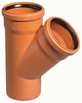 Kloakgrenrør PVC 110/110 x 45° PVC kloakgrenrør kloak tee pvc fittings