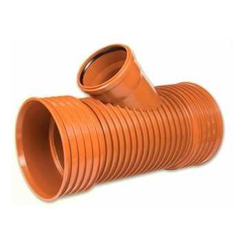 Kaczmarek K2 kloakgrenrør PP 200 x 160 mm x 45°med glat PVC spids kloak tee fittings