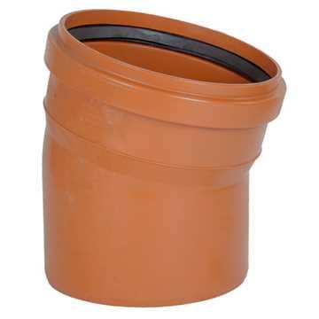 Kloakbøjning PVC 250 mm x 15° PVC kloakbøjning pvc kloakfittings kloakplast kloakvinkel pvc