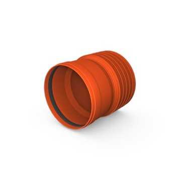 Kaczmarek K2 kloakreduktion PP 200 mm x 200 mm med K2 muffetil til glat PVC spids.  Tætningsring med