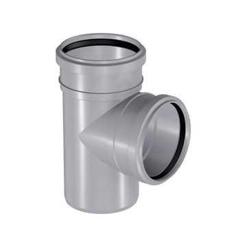 HTP afløbsgrenrør 110/110 mm x  87° i grå.<br><br>Anvendes til tilslutning af køkkenvask, håndvask,