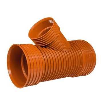 Kaczmarek K2 kloakgrenrør PP 250 x 200 mm x 45°med glat PVC spids. kloak tee kloak grenrør