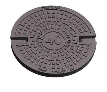 OT dæksel m/ lås Ø315mm m/ lukkede nøglehuller 40t