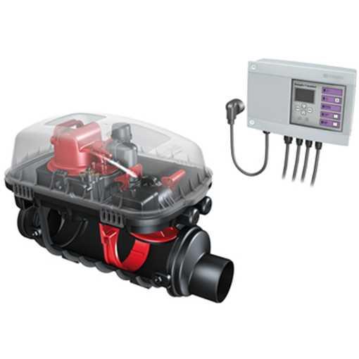 Højvandslukke med kontraklap type 1 og pumpe (1 kW/230 V) til sikring mod opstemning. Pumpen aktiver