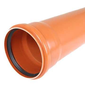 Kloakrør PVC 250 x 3000 mm med muffe.<br> Forsynet med fastsiddende olie- og benzinbestandig tætning