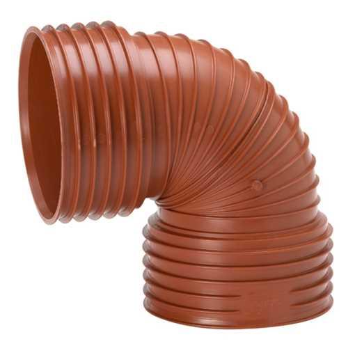 Ultra Rib2/Double kloakbøjning 200 mm x 88°. Ekskl. tætningsring.<br>33 stk. pr. palle.<br><br><li>D